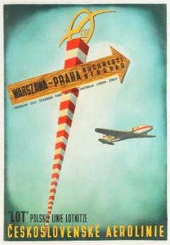 Original Vintage Poster CSA Czech LOT Polish Airline Travel Warsaw Prague Europe