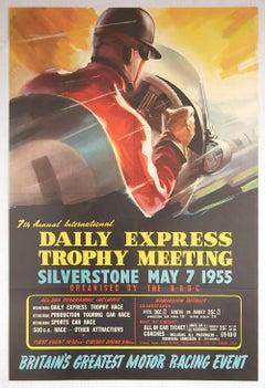 Original Vintage Poster Daily Express Trophy Silverstone Grand Prix F1 Car Race