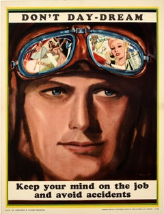 Original Vintage Poster Don't Day-Dream WWII Air Force Pilot Safety Propaganda