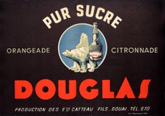 Original Vintage Poster Douglas Orangeade Citronnade Drink Polar Bear Art Design