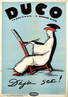 Original Vintage Poster Duco Enamel Lacquer Paint Already Dry! Deja Sec! Ad Art
