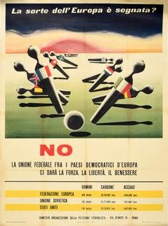 Original Vintage Poster European Union Federation Election Vote Strength Freedom