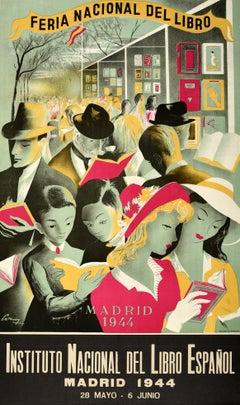 Original Vintage Poster Ferio Nacional Del Libro Espanol Madrid Book Fair Event