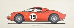Original Vintage Poster Ferrari 250LM Le Mans Sports Car Motor Racing Art Design