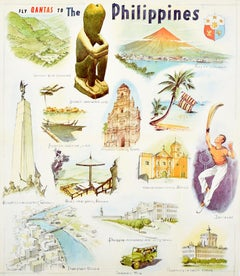 Original Vintage Poster Fly Qantas To The Philippines Travel Art Illustrations