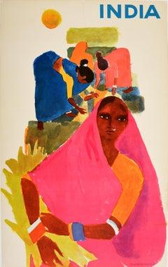 Original Vintage Poster For India Ft. Farming Agriculture Artwork Travel Tourism