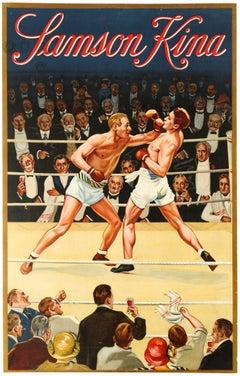 Original Vintage Poster For Samson Kina Aperitif Drink Boxing Ring Sport Design
