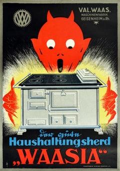 Original Vintage Poster For Waasia Household Stoves Kitchen Cooker Devil Design
