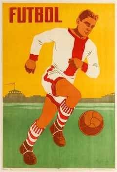 Original Vintage Poster Futbol Ft. Football Player Azerbaijan Soviet Sport USSR