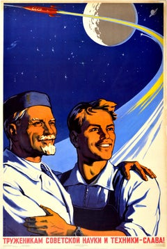 Original Vintage Poster Glory To Soviet Science & Technology Workers USSR Space