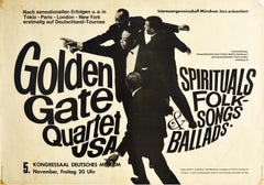 Original Vintage Poster Golden Gate Quartet Spirituals Folk Songs Ballads Music