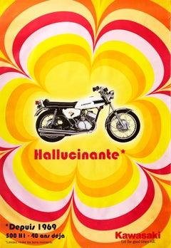 Original Vintage Poster Hallucinate Kawasaki Motorcycle Let The Good Times Roll