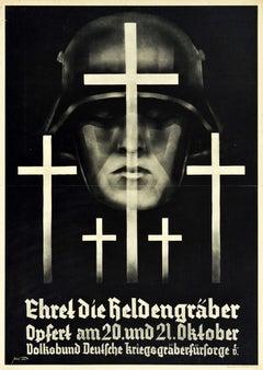 Original Vintage Poster Honour The War Graves WWI Charity Ehret Die Heldengraber
