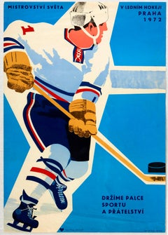 Original Vintage Poster Ice Hockey World Championships Prague Sport & Friendship