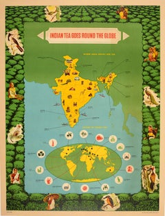 Original Vintage Poster Indian Tea Export Round The World Pictorial Map Design