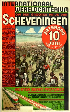 Original Vintage Poster International Grand Prix Scheveningen Motorcycle Cycling