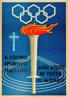 Original Vintage Poster Italian Sports Centre World Athletes Olympic Games Rome