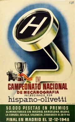 Original Vintage Poster IV Mecanografia Typing Championship Hispano Olivetti - H