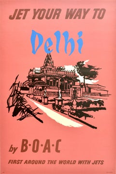 Original Vintage Poster Jet Your Way To Delhi By BOAC India World Travel Airline