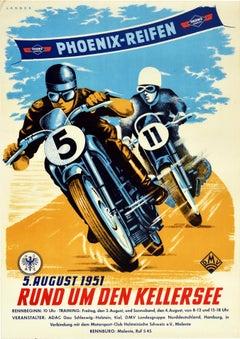 Original Vintage Poster Kellersee Lake Phoenix Reifen Tires Motorcycle Race Art