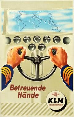 Original Vintage Poster KLM Royal Dutch Airline Pilot Caring Hands Route Map