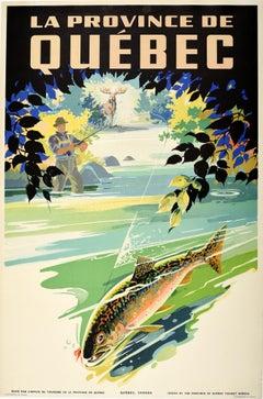 Original Vintage Poster La Province De Quebec Canada Travel Moose Fishing Design