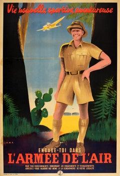 Original Vintage Poster L'Armee De L'Air French Air Force Army Sport Adventure
