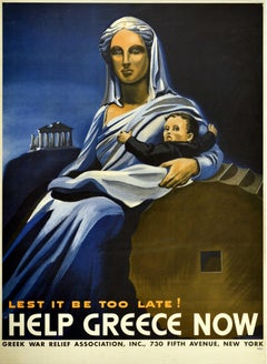 Original Vintage Poster Lest It Be Too Late Help Greece Now WWII War Relief Fund