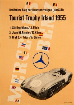 Original Vintage Poster Mercedes Benz 300SLR Motor Racing Ireland Stirling Moss