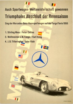 Original Vintage Poster Mercedes Benz Sports Car Racing Art Stirling Moss Fangio
