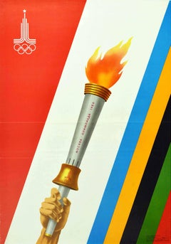 Original Vintage Poster Moscow Summer Olympics 1980 Moskva Olympic Torch Design
