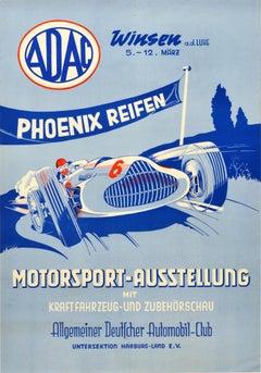 Original Vintage Poster Motorsport Car Exhibition ADAC Phoenix Reifen Tires Ad