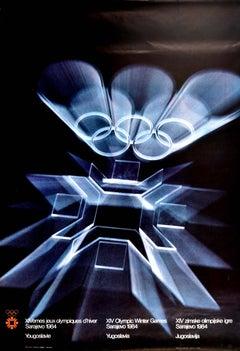 Original Vintage Poster Olympic Games Sarajevo 84 Olympics Winter Sport Design