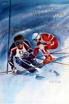Original Vintage Poster Olympic Winter Games 1980 Lake Placid New York Ski Sport