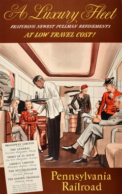 Original Vintage Poster Pennsylvania Railroad Pullman Train Travel Luxury Fleet