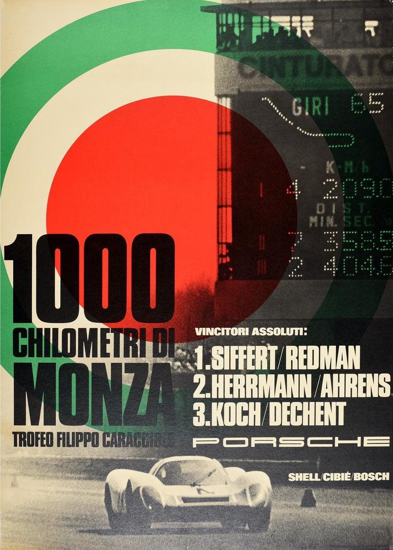 Unknown Print - Original Vintage Poster Porsche 1000 Chilometri Di Monza Race Track Motor Sport