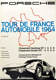 Original Vintage Poster Porsche 904 Tour De France Automobile 1964 GT Car Racing