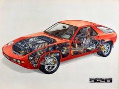 Original Vintage Poster Porsche 928 Grand Tourer Car Model Luxury Motorsport V8