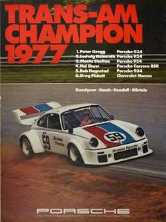 Original Vintage Poster Porsche 934 Trans Am Champion 1977 Auto Racing Victory