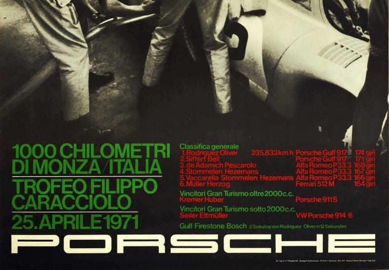 Original Vintage Poster Porsche Gulf 917 Victory 1000km Monza Italy Auto Racing - Black Print by Unknown