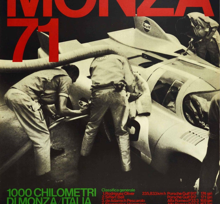 Original vintage motorsport poster celebrating Porsche as the 1000km Monza circuit winner of the Filippo Caracciolo trophy in Italy on 25 April 1971 - Monza 71 1000 Chilometri di Monza Italia Trofeo Filippo Caracciolo - featuring a black and white
