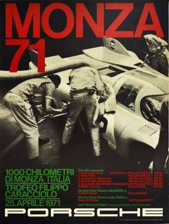 Original Vintage Poster Porsche Gulf 917 Victory 1000km Monza Italy Auto Racing