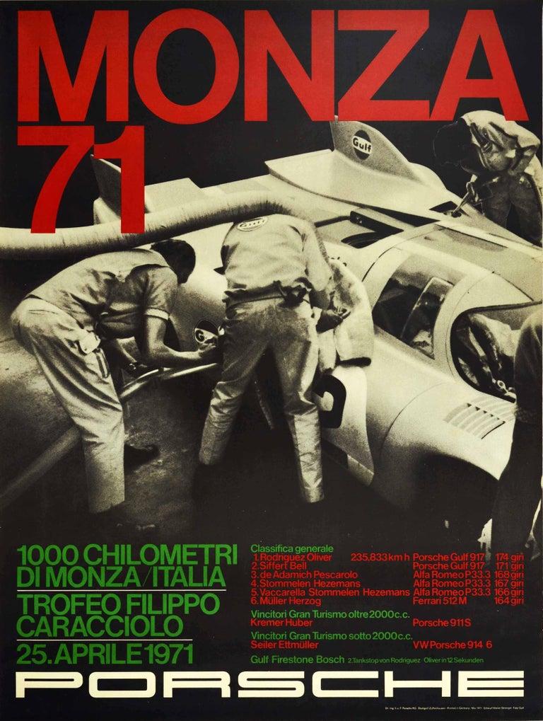 Unknown Print - Original Vintage Poster Porsche Gulf 917 Victory 1000km Monza Italy Auto Racing