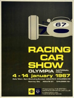 Original Vintage Poster Racing Car Show Olympia Motor Sport Mid Century Design