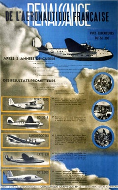 Original Vintage Poster Renaissance French Aeronautics Military Air Force Planes