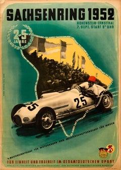 Original Vintage Poster Sachsenring 1952 Motorsport Championship Racing Car Art