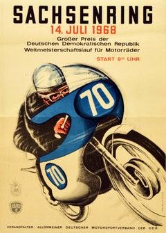 Original Vintage Poster Sachsenring 1968 Motorcycle Grand Prix GP Racing Event