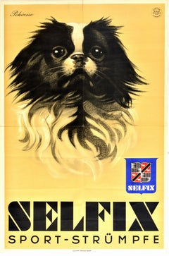 Original Vintage Poster Selfix Sport Strumpfe Socks Pekinese Pekingese Dog Art