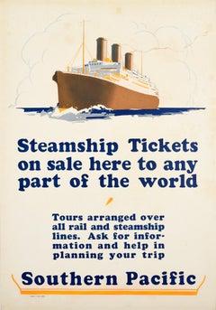 Original Vintage Poster Southern Pacific Steamship Ocean Liner Cruise Travel Art