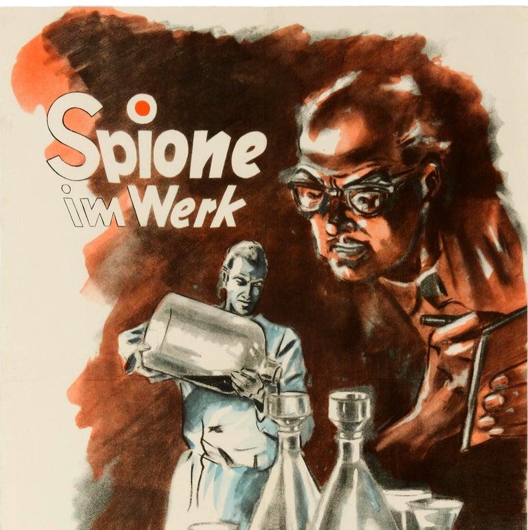 Original Vintage Poster Spies At Work Spione Im Werk German Cold War Propaganda - Print by Unknown